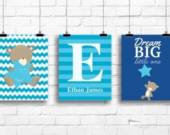 Baby boy nursery art prints, teddy bear nursery decor, teal and navy decor, custom initial print, toddler baby room decor, BE-3039