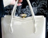 Lewis Cream Vintage Patten Leather Purse Handbag, (Beautiful and Clean) with Double Handle and Gold/Silver Tone Clasp 1960's era