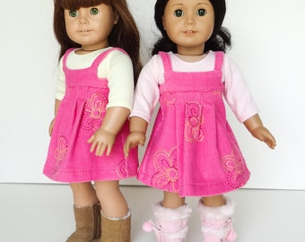 18 Inch Doll Clothes -- Pink Jumper and T-Shirt -- 2 Piece Outfit (5-25)
