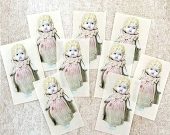 "Adventures of Claudia Cut Out Doll Stickers 2"" Seals China Doll Shaped Labels (9)"