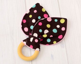 Baby Teething Toys - Brown & Pink Dots - Teething Toys - Infant Learning Toys - Wood Baby Toys - 1358
