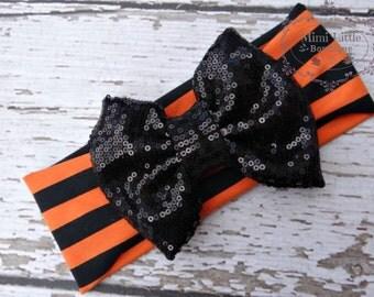 Orange and Black Stripes Halloween Perfectly Bow-Head wrap- Girl Turban-Boho headband- Orange sparkle Turban -Halloween headband-  Head wrap