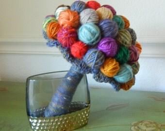 Yarn Ball Bouquet, Alternative Wedding Bouquet, Yarn Lover, Chunky Bouquet