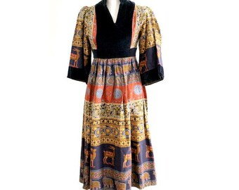 vintage PEASANT DRESS  velvet and cotton small made in england  jon  ADAM