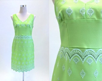 1960's Mini Dress - Lime Green - Vintage 60's Dress - Featuring Cut Lacework