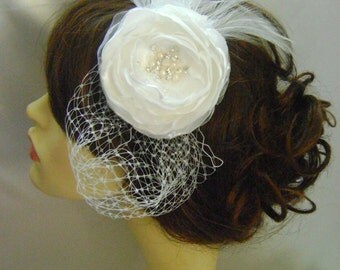 Iris - Ivory Jewelled Bridal Flower Headband - Custom Color Choice Available
