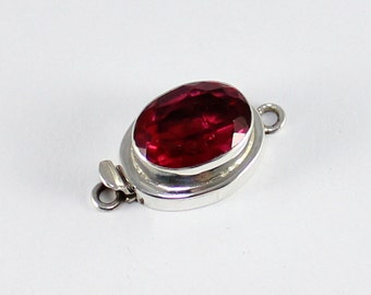 """Rubylite 925 Sterling Silver Single Strand Box Clasp Size 1"""" :C143"""