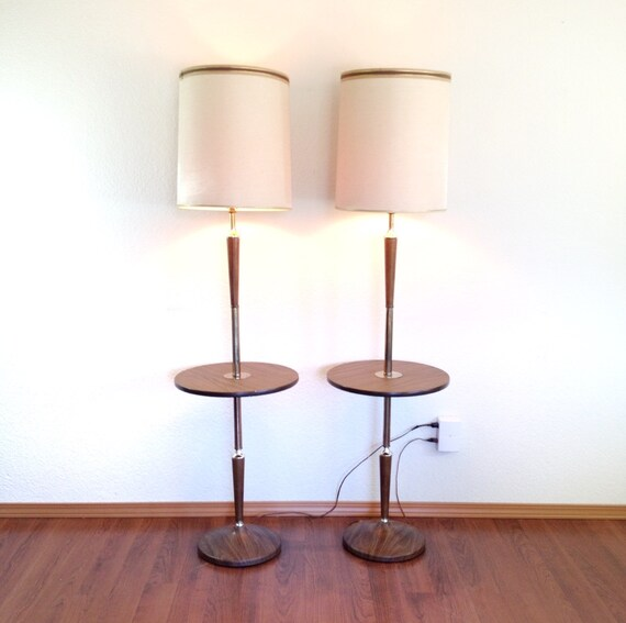pair of vintage floor lamps with attached table lamp table combo. Black Bedroom Furniture Sets. Home Design Ideas
