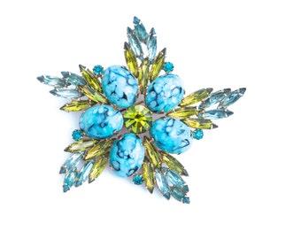 Vintage Art Glass Rhinestone Brooch Pinwheel Pin 3D Blue Green HUGE
