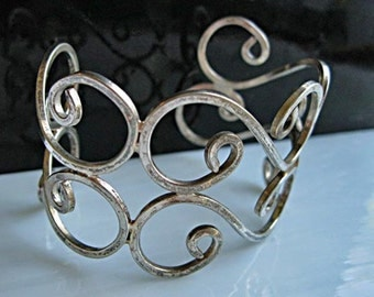 Mexico Sterling Cuff Bracelet, Wide Curving Scrollwork, 925 Silver, Open Curves Curlique Design