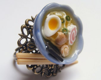 Food Jewelry Ramen Ring, Ramen Soup Ring, Noodle Soup, Chinese Food Ring, Miniature Food Jewellery, Mini Food, Polymer Clay food Ramen Charm