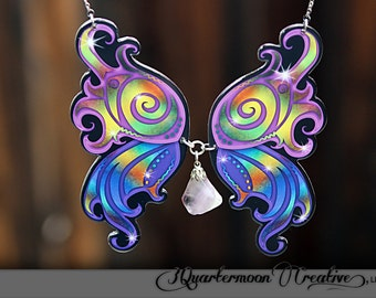 Fairy Wings, Statement Necklace, SteamPunk, Bellydance Jewelry, Laser Cut Necklace, BoHo, Lavender Quartz, Crystal