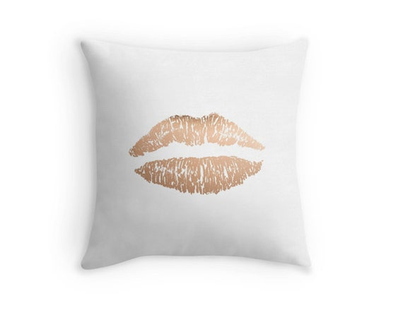 Rose Gold Decorative Pillow : Items similar to Rose gold lips pillow - includes insert - Decor pillow, rose gold on Etsy