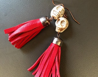 Handmade red leather tassel and skull dangle earrings - real genuine leather, ivory beige dangly