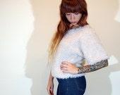 90's High Fashion Chunky Short Sleeve Faux Fur Club Kid Slouchy Shirt Blouse // Women's