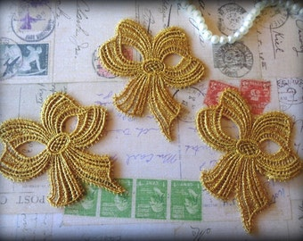 Metallic Venice Lace Applique Bows, Gold, x 3, For Romantic and Victorian Projects