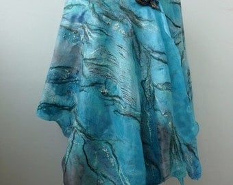 """Nuno felted blue  turquoise scarf shawl poncho felting wool luxury romantic tippet stole """"Elements of water"""""""