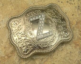Monogram Letter Z Personalized Silver Belt Buckle, Rhinestone Initial Z Monogrammed Womens Mens Kids Western Belt Buckle, Custom Belt Buckle