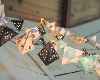 Paper Pyramid Light Garland - MOON - handmade lanterns inspired by the moon, in black, gray, and aqua