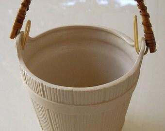 Vintage Ceramic Basket, Scandia Cosm. Co, stoneware candle holder, plant holder, bath soaps bucket, vintage home decor, Japan made ceramics