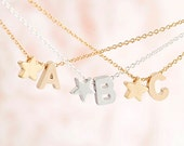 Tiny Alphabet Star Charm Necklace, Gold / Silver, Uppercase Capital A - Z, Personalized Bridesmaid Gift, Love Jewelry, WJ ij