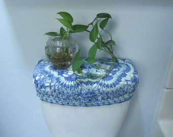 Crochet Toilet Tank Lid Cover or Toilet Seat Cover  - bluegrass (TSC9L or TTL9L)
