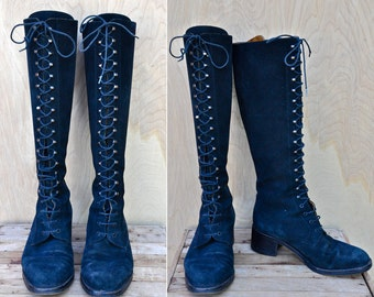 Vintage LACE UP Leather Suede Boots Victorian Style Barneys New York Italian Designer Made in Italy Distressed size 37 - US 6.5 - 7
