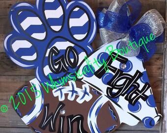Paw print, megaphone, football, door hanger, spirit, cheerleading, football door hanger, cheer door hanger, paw print door hanger