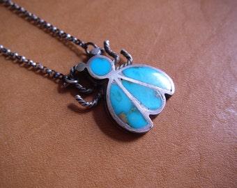 Sweet vintage turquoise bug pendant