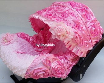 NEW!! Baby Car Seat Cover Canopy, Infant Car Seat Cover Canopy,3D Rosette Damask Pink, Baby Girl, fit most car seat, 20% off