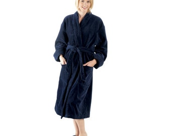 Black Microfleece Shawl Collar Monogrammed Robe