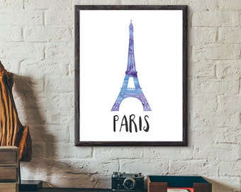 Paris, France Watercolor Print - Eiffel Tower / Tour Eiffel