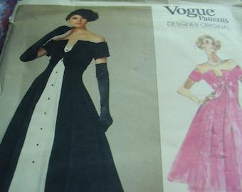 Vintage 1980's Vogue 2276 Designer Original Bellville Sassoon Tuxedo Evening Dress Sewing Pattern, Size 6-9-10