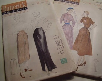 Vintage Butterick 5399 and 5360 Skirt and Dress Sewing Pattern, Lot of 2
