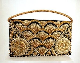 Vintage India Goldwork Black Velvet Handbag Clutch