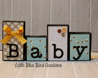 Baby shower wood blocks - wood letters - baby decor - baby shower prop