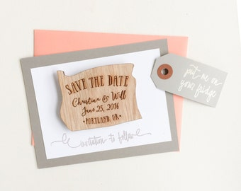 Oregon Wood Save the Date Magnets - save the date invitations - wedding save the dates - custom save the dates - oregon wedding - magnet