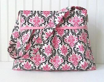 Pink Damask Diaper Bag Medium Nappy for Baby Girl