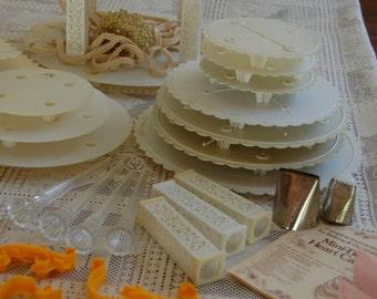 Vintage Wedding Cake Tower. Be a Cake Boss!Wilton Cake decorating supplies. Wedding Cake Stand. Bakery Shop. Cake baking