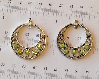 2pcs (1pair)-30mm lime green rhinestone earrings,chandelier earrings findings, connector, necklace pendant
