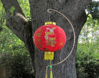 Rare Vintage Chinese Lantern - Gold Luck - Love - Prosperity Characters - Golden Dragons - Folding Paper with hanging Hook and Tassels