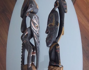 Sacred Sepik River Flutes with Stoppers - Exotic Rites Rare Pair New Guineau - Hand Carved Men Bird Clan Ancestor Faces Spirits Communicator
