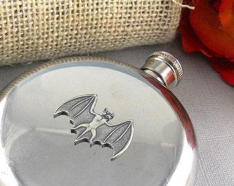Bat Flask, Gothic, Steampunk Steam Punk  Victorian Stainless Steel, Gothic Flask, Drinking Bottle, Vampire Flask, 5 Oz