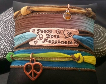 D2E  hand stamped silk wrap bracelet with magnetic clasp, peace love happiness, with Swarovski crystal