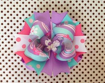 SALE! Ready To Ship Hairbow! Spring Hairbow, Purple Butterfly Hairbow, Polka Dot Boutique Hairbow, Pink And Purple Girls Hairbow