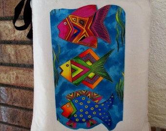 Fantasy Fish Large Grocery Bag Tote Canvas