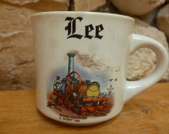 Vtg PAPEL mug Rotary Cultivator by Rickett 1858 Lee name