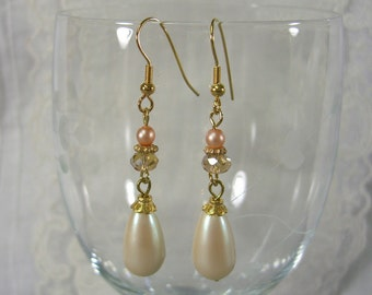 VINTAGE Cream Luster PEARL Teardrop EARRINGS with crystals, gold ear hooks and Peach pearls for women, ladies