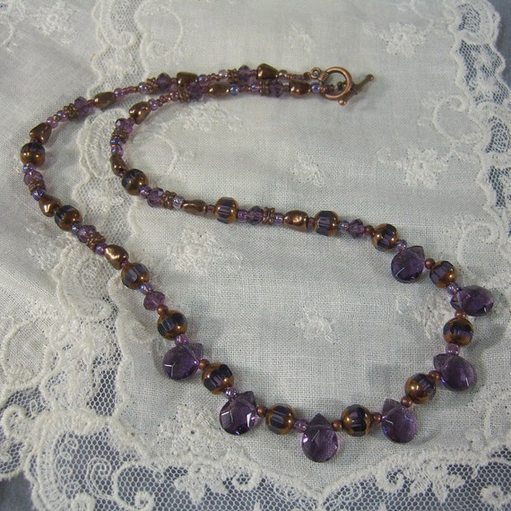 PURPLE TEARDROP NECKLACE for Ladies set together with Copper spacers and beads