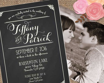 Chalkboard Wedding Invitation with Photo Back / 'The Tiffany' Decorative Script Type / Printable DIY or We Print #Tiffany #Chalkboard